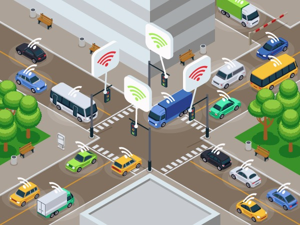 Illustration connected vehicles and infrastructure in urban intersection