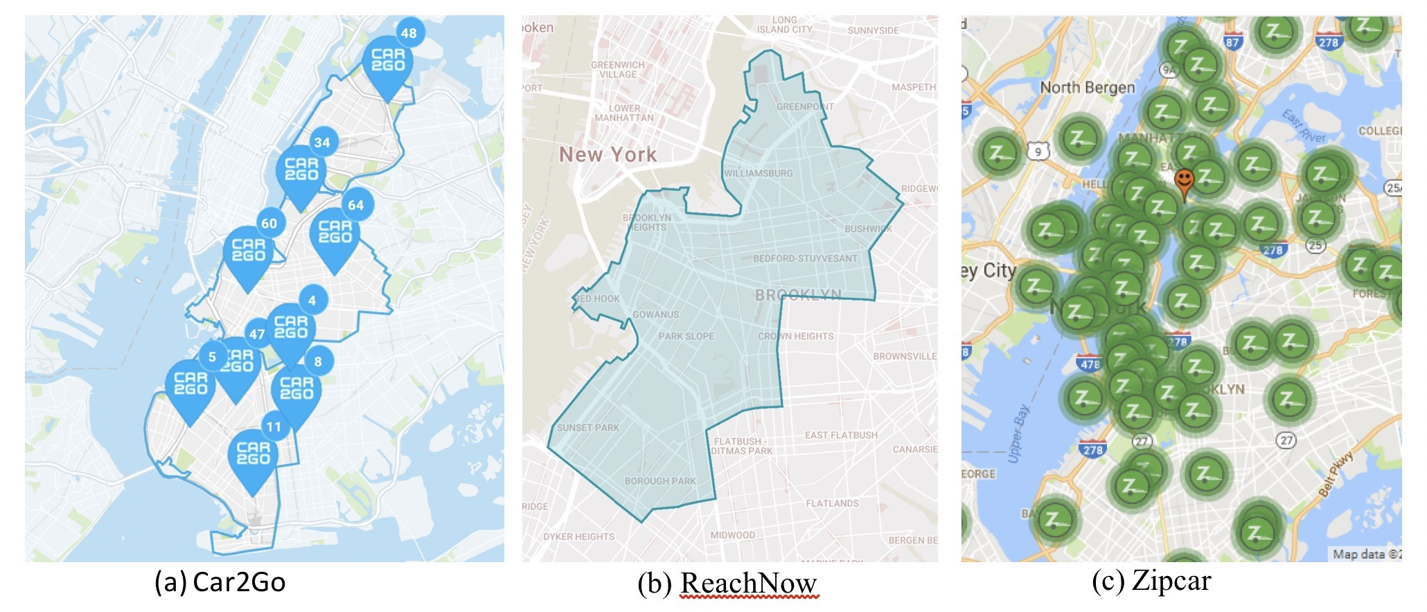 Carsharing coverage areas in NYC