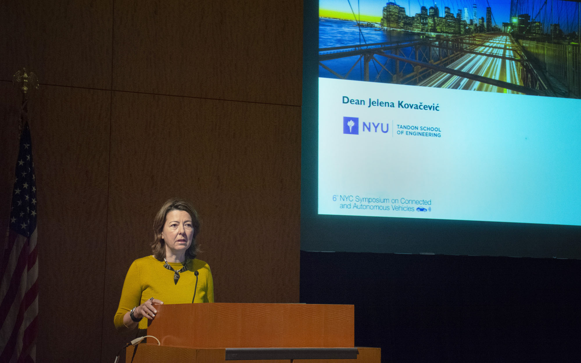 NYU Tandon Dean Jelena Kovacevic welcomes attendees at the beginning of the two-day symposium.