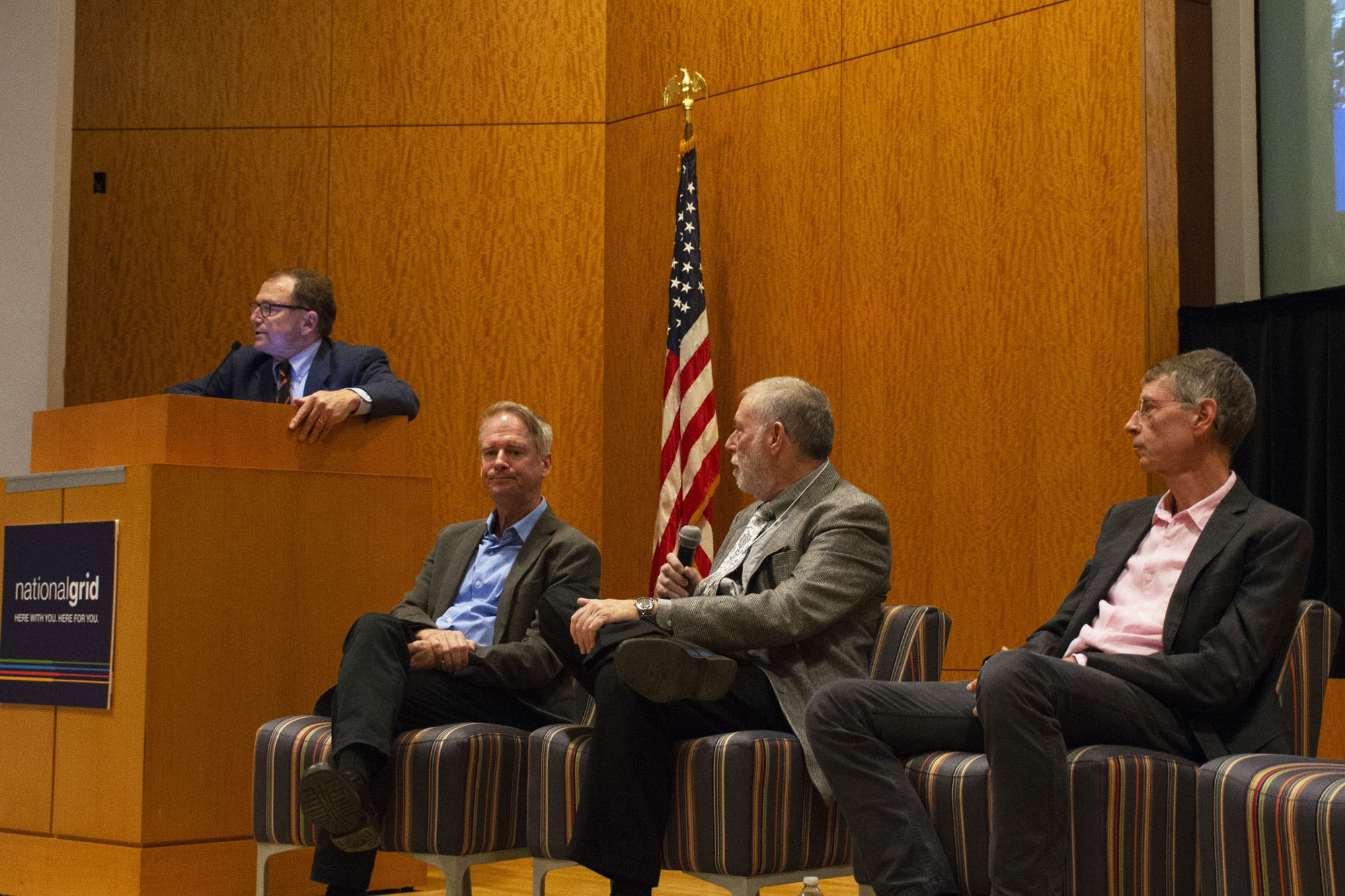 Princeton University Professor Alain Kornhauser leads a session on the key steps and potential obstacles to automated vehicle deployment. (L to R) Kornhauser; Mark Geistfeld, Professor, NYU School of Law; Sam Schwartz, President, Sam Schwartz Engineering; Bruce Schaller, Principal, Schaller Consulting.