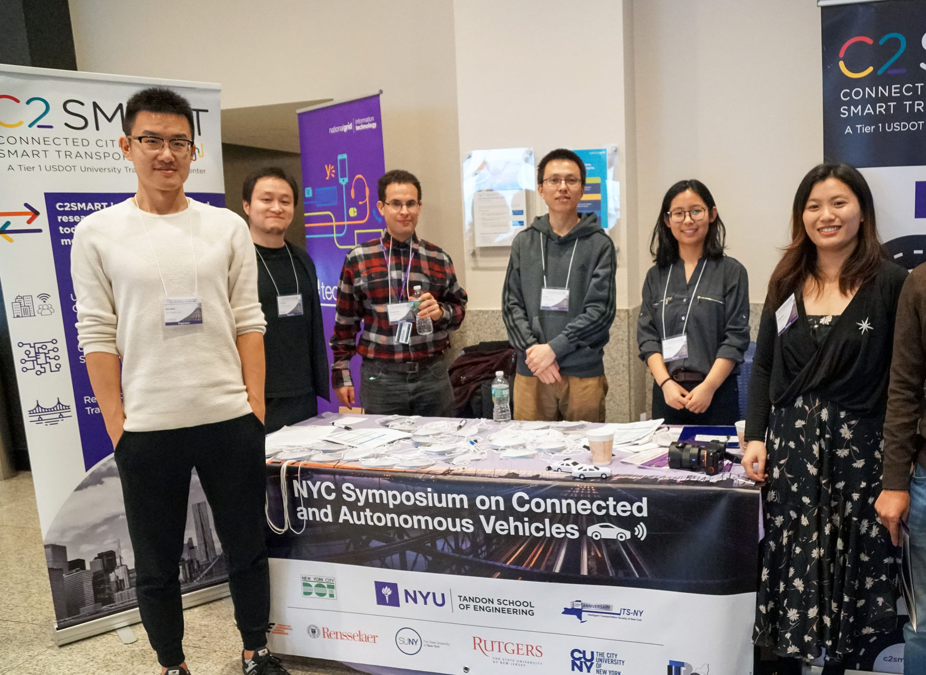 A host of student volunteers from C2SMART ensure the symposium ran smoothly, including (L to R) PhD students Zilin Bian, Fan Zuo, Reuben Juster, Di Sha, Ding Wang, Jingqin Gao.