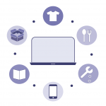Graphic of laptop and household items to illustrate online consumption practices in cities