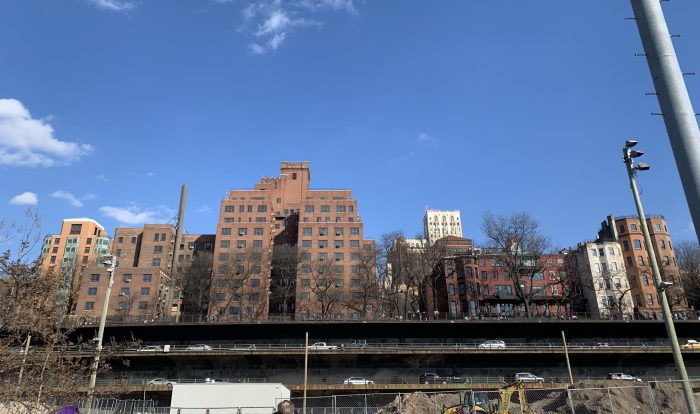 View of Brooklyn Queens Expressway and Brooklyn Heights Promenade.