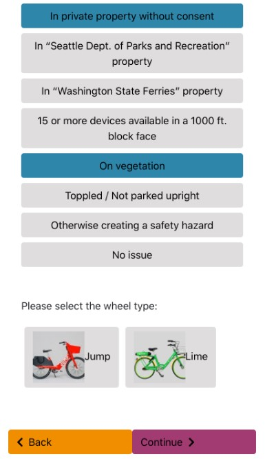 A photo of an app showing violation classes and a selection of bicycle type