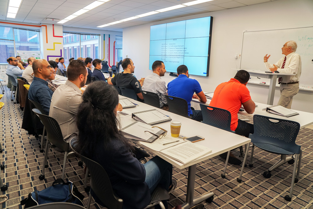 Professor John Falcocchio teaches a course on the fundamentals of traffic engineering during a two-day workshop for NYCDOT employees.