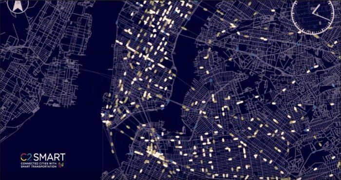Map of NYC showing MATSim visualization simulation in progress