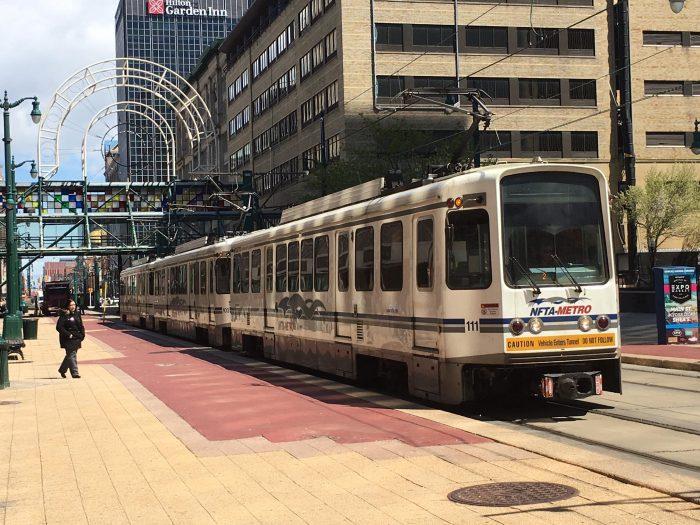 NFTA Metro Tram in Middle of Pedestrian Street